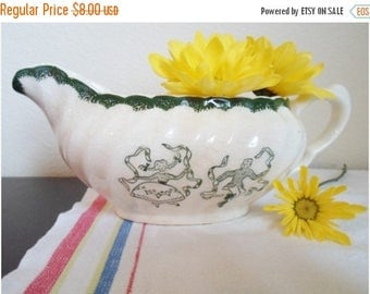 ON SALE Vintage Gravy Boat, Pitcher, Dancing People,  Green, white, Cottage Chic, Shabby Chic