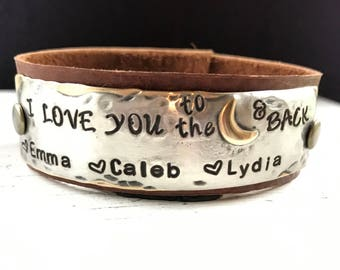 I LOVE YOU to the Moon and Back, to be personalized with names, hand stamped leather cuff bracelet, gift idea