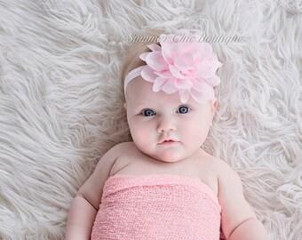 Light Pink Baby Headband, Infant Headband, Newborn Headband, Baby Headband, Easter Headband, Light Pink Fluffy Chiffon Petal Flower
