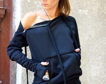 SALE NEW Autumn Black Extravagant  Asymmetric Cotton Sweatshirt  / Thumb holes  sexy zipper on shoulders / Front Pocket  by AAKASHA A08310