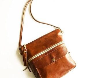 Brown Leather Crossbody, Cognac Leather Purse, Leather Crossbody, Leather Crossbody Bag, Chestnut Leather Purse, Crossbody, Crossbody bag