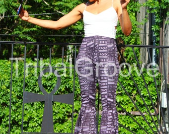 MudCloth Black and White High Waist Flare Bell Bottom Leg Pants - sale!