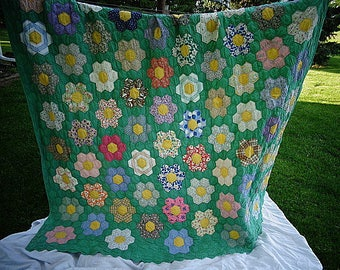 Vintage Hand Stitched Quilt Green Garden Flowers 69 By 77 Nice