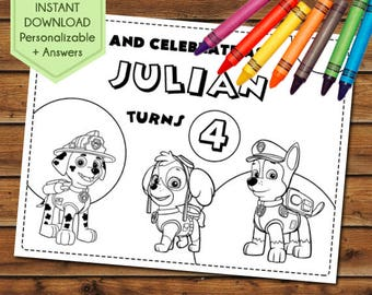 Paw Patrol Party Favors, Paw Patrol Coloring Pages, Paw Patrol Party Games, Birthday Favors, Party Activity Book, Chase, Skye, Marshall