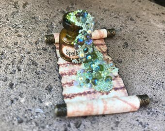 Green Spells Potion Spilled on a Spell Scroll - Dollhouse Miniature (SP5)