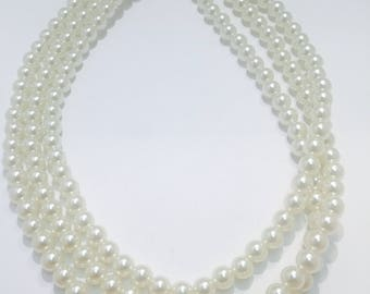 Three strand statement pearl necklace