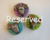 Reserved for A.D. Cute Mouse Magnet Set, Whimsical Rustic Mice Refrigerator Magnets