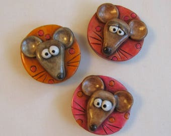 Cute Mouse Magnet Set, Whimsical Rustic Mice Refrigerator Magnets