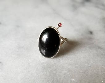 Oxidized sterling silver textured band black onyx ring