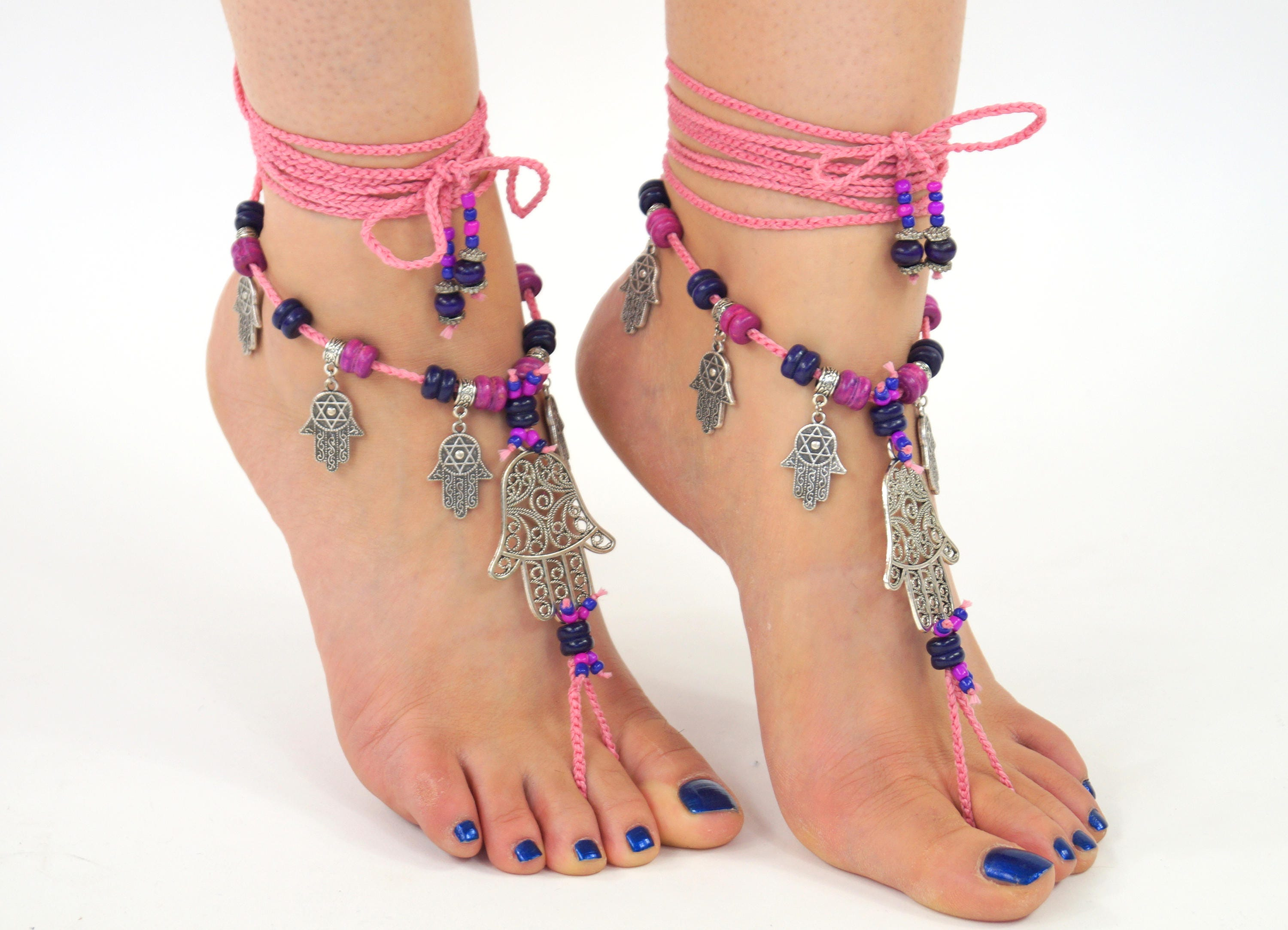 anklets gift silver boho yogi for surf bracelet product lotus beach yoga festival anklet women ankle