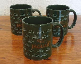 Vintage Jaguar Motors Coffee Mug Gold Logo