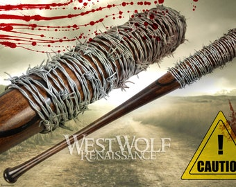 Lucille - The Walking Dead - Real Hardwood Negan Bat with Real Barb Wire -- Sharp Steel/Weapon/Prop/Fallout/Zombie