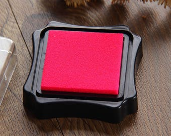 1 Piece Square Ink Pad - Stamp Inkpad - Ink Oil on Paper, Wood, Fabric - Pink