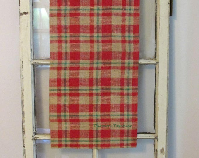 Red & Green Plaid Table Runner, Primitive Plaid Runner, 75 inch Plaid Christmas Runner, Primitive Christmas Decor, Christmas Burlap Runner
