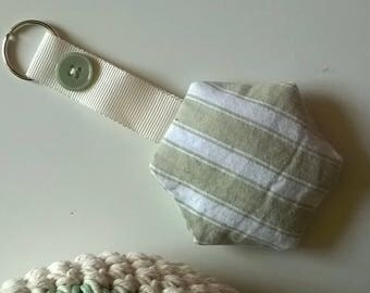 Vintage French Ticking Hexagon Key Ring / Key Fob filled with lavender