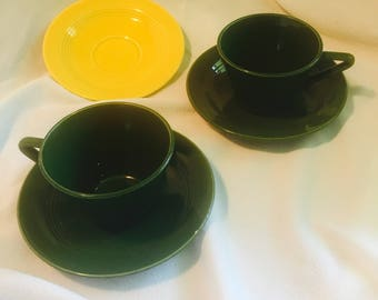 Vintage Homer Laughlin Harlequin China Midcentury modern cups & saucers Forest Green /Yellow