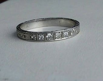 Art Deco Engraving Platinum Diamond Band 5.75 Excellent Vintage Wedding Orange Blossom