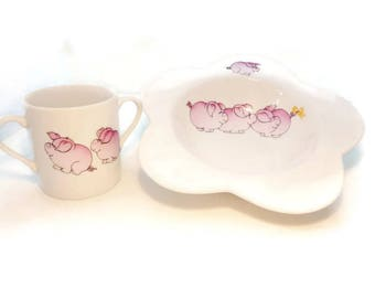 """plate and mug for children in China """"three little pigs"""""""