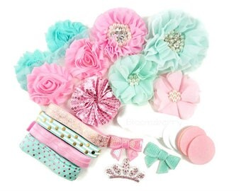 DIY 25 pcs Flower Headband Kit -Pink/Aqua Color Set - Making 6 to 8 headbands - Baby Shower/Craft Projects/Birthday- Hair Accessories Kits