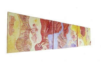 "Large triptych abstract orizontal warm colors (red purple orange yellow..) ""TENDERNESS WAGONS"""
