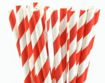 10 red striped patterned retro paper straws