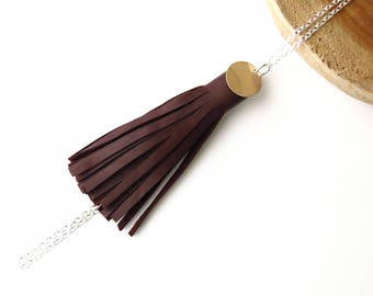 Long Necklace, Necklace, Pompon, Leather, Taupe
