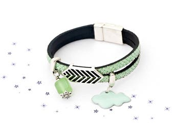Bracelet leather suede sequin green jade cloud enamel glass bead