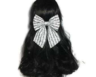 Music Notes Hair Bow, Large Hair Bow, Cheer Bow, Handmade Bow, Anime Hair Bow, Cosplay Bow, Bow For Girls, Fabric Kawaii Piano Bow LwT021