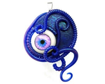Neon Blue ~~~ Biomech human eye pendant