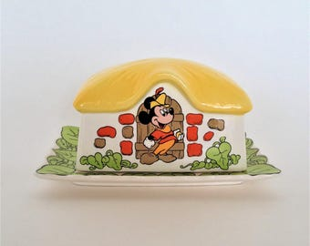 Mickey Mouse Vintage Butter Dish, Excellent Condition, Mickey and the Bean Stalk, Whimsical, 1970's Royal Orleans Disneyana Collectible