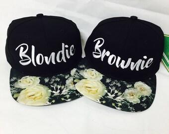 Blondie and Brownie Snapback Hat Black and White Roses Best Friends Blonde Brunette
