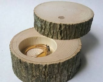"Small Ash Wood Ring Box With Lid Proposal Box Rustic Ring Bearer ""Pillow"" Log Wedding Jewelry Custom"