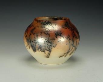 Horse Hair Raku Pottery.  Terra Sigillata, hand polished.  Ready to ship.