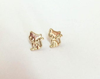 SALE - Cat jewelry - Cat Stud Earrings - Cat earrings - 14k Gold filled earrings - Gold cat earrings - Gift for girls