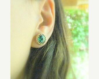 SALE - Emerald stud earrings - Emerald studs,  Emerald jewelry, Emerald earring