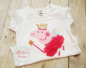 Fairy Princess Peppa Pig Custom Tee Shirt - Customizable -  Infant to Youth 329a