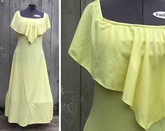 Vintage dress | 70s plus size pale yellow polyester gown with draped neckline