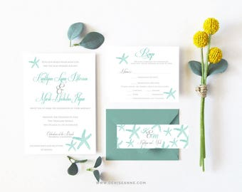 Beach Starfish Wedding Invitation Printable-Starfish Invitation-Beach Digital Wedding Invitation-Destination Wedding-Beach Wedding Cards