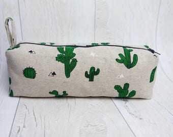 Pencil case/ Makeup bag, made with cotton linen fabric and fully lined with water proof fabric