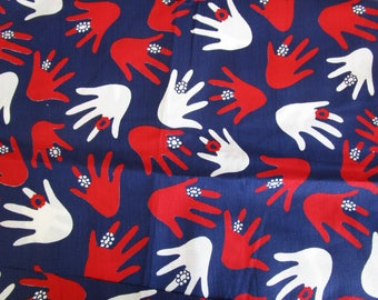 """60s 44"""" x 1.7 yds Novelty Cotton Broadcloth Red White Blue Hands"""