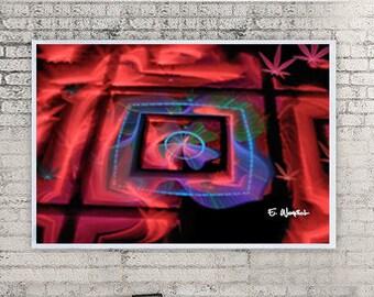 Red blue abstract art, fractal art, giclee print, minimalist art, modern art, geometric art, abstract art,sacred geometry,computer geek gift