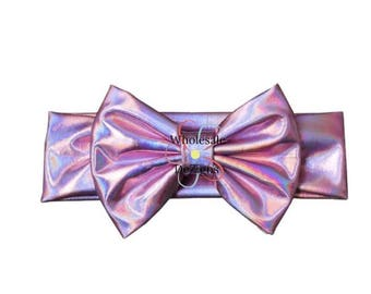 "Pink Iridescent Metallic Bow Headbands - Purple Tones - Stretchy Elastic Headbands Baby Kids Stretch Head bands - One Headband 5"" Bow"