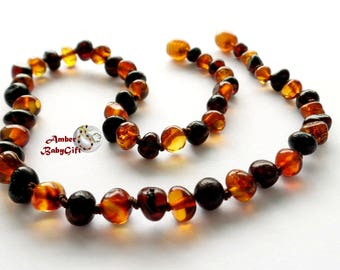 Polished Baltic Amber Teething Necklace - Black Cherry and Cognac Amber Beads - Screw or Safeėty Clasp - Choose Your Length, K-6