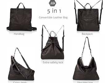 Soft black leather diaper bag Backpack 5 IN 1 Convertible bag mothers leather bag- mom diaper backpack baby bag leather new mom gift