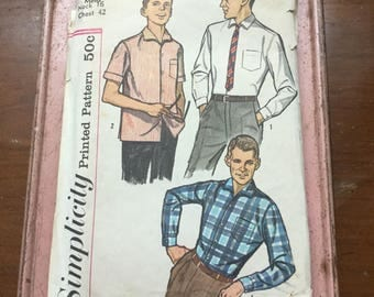 Vintage Simplicity Mens shirt pattern 3875