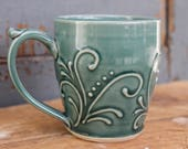 Teal Green Handmade Ceramic Mug, unique gift, present, Birthday, Christmas IN STOCK, ready to ship