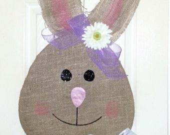 Burlap Bunny door hanger, Easter door hanger, Easter bunny decor, Easter wreath, Easter Decoration, burlap Easter wreath, Spring wreath