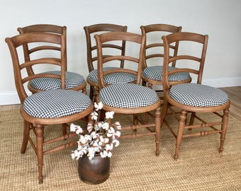 French Country Style Farmhouse Chairs   Bentwood Vintage Wooden Chairs    Dining Chair Set   French