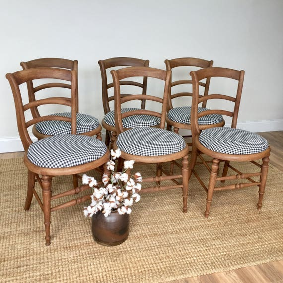 French Country Style Farmhouse Chairs - Bentwood Vintage Wooden Chairs - Dining Chair Set - French Provincial Furniture - Rustic Chairs