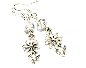 Charm crystal flower casual floral women earrings
